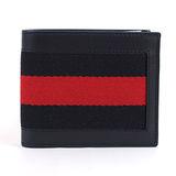 GUCCI 245767 簡約時尚經典條紋織帶皮革短夾.黑