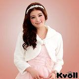 【KVOLL中大尺碼】白色甜美小禮服披肩毛毛外套