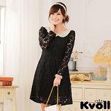 【KVOLL中大尺碼】黑色串珠娃娃領蕾絲連衣裙