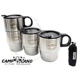 (4入)CAMP-LAND 生活家#304不鏽鋼組合式雙層斷熱咖啡杯220cc
