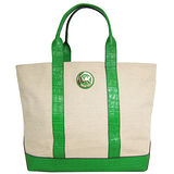 MICHAEL KORS 帆布拼皮革飾帶托特包(米綠)