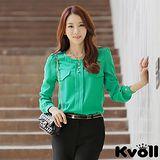 【KVOLL中大尺碼】綠色休閒圓領顯瘦百搭雪紡襯衫