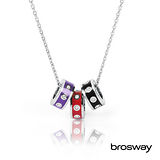 brosway Tres Jolie 施華洛世奇水鑽不鏽鋼項鍊 紅/黑