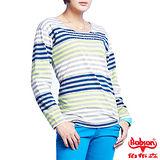 BOBSON 女款燙鑽配色條紋長袖上衣(33105-53)