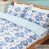 【LAMINA】心雨-單人三件式床包被套組(藍)