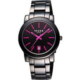 VOGUE 都會雅仕大三針腕錶-IP黑/桃紅時標/38mm 9V0234DP