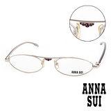 Anna Sui 日本安娜蘇 珠光金鑽金屬造型平光眼鏡(銀) AS01002