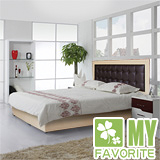 最愛傢俱 新復古款式 《白橡 5尺床台 方格造型 》 雙人普通床台