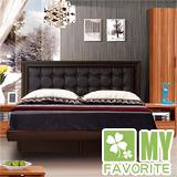 最愛傢俱 新復古款式《胡桃 5尺後掀床台 方格造型 》 雙人 後掀床架