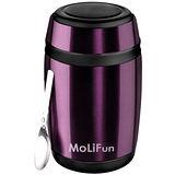 MoliFun魔力坊 不鏽鋼真空保鮮保溫燜燒食物罐550ml-時尚紫