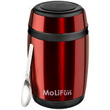MoliFun魔力坊 不鏽鋼真空保鮮保溫燜燒食物罐550ml-寶石紅