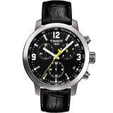 TISSOT PRC 200 競速三眼計時腕錶-黑 T0554171605700