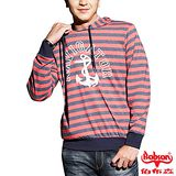 【BOBSON】男款船鉚條紋連帽長袖上衣(33023-13)