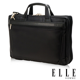 ELLE HOMME 紳士優雅搭配皮革公事包(黑)IPAD/14吋筆電置物層 側背手提兩用設計EL74166A-02