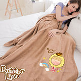 【奶油獅】台灣製造 加厚長毛雙面珊瑚絨保暖毯(彩虹牛仔款)-咖啡