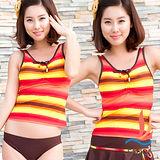 【SANQI三奇】人魚傳說 三件式比基尼泳裝 泳衣(橘紅)