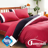 【Jumendi-水鑽之星.紅】台灣製防蹣抗菌被套床包組-雙人