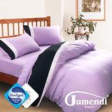 【Jumendi-水鑽之星.紫】台灣製防蹣抗菌被套床包組-雙人
