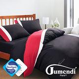 【Jumendi-水鑽之星.黑】台灣製防蹣抗菌被套床包組-雙人