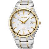 SEIKO 紳士風時尚太陽能簡約腕錶-銀/雙色版 V157-0AV0KS