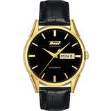 TISSOT VISODATE 1957 復刻自動腕錶-金/黑 T0194303605101