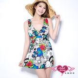 【天使霓裳】花蝶圖樣 兩件式加大尺碼泳衣(白)