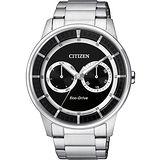 CITIZEN Eco-Drive 率性爵士風格腕錶-黑x銀 BU4000-50E