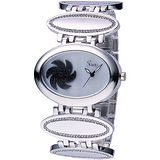 Sense 轉運風車晶鑽時尚錶(黑) Se0003