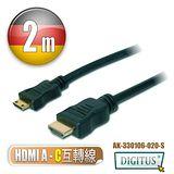 曜兆DIGITUS HDMI A轉C互轉線-2公尺(公-公)*HDMI轉miniHDMI線