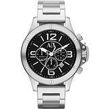 A│X Armani Exchange 重裝軍式風格計時腕錶-黑x銀 AX1501