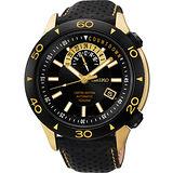 SEIKO 4R37絕地爭霸限量機械腕錶-黑x玫塊金 4R37-00V0K