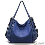 【法國盒子】百搭暢銷雙拉鍊造型垂墜包(藍色)0305