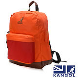 KANGOL 英式新潮時尚後背包袋鼠繡LOGO橘碰紅元素可置放15吋筆電後背包-橘配紅KG1101-F