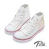 【韓國T2R】鉚釘百搭內增高休閒高筒帆布鞋 7cm 白(5600-0079)