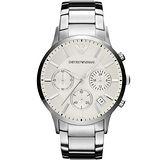 ARMANI 旗鑑型男計時腕錶-銀 AR2458
