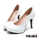 (現貨+預購)【Miaki】 MIT 都會奢華皮質細跟包鞋高跟鞋 (白色)