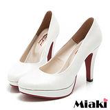 (現貨+預購)【Miaki】 MIT 都會奢華皮質細跟包鞋高跟鞋 (白鑽)