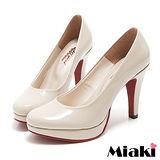 (現貨+預購)【Miaki】 MIT 都會奢華皮質細跟包鞋高跟鞋 (米色)