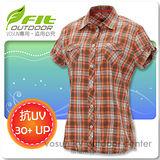 【維特 FIT】女新款 格紋吸排抗UV短袖襯衫 FS2203 鮭魚橙