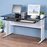 《Homelike》巧思辦公桌 亮白系列-黑色亮面烤漆140cm(附二鍵盤架)