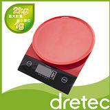 【日本DRETEC】『 背光旋盤 』廚房料理電子秤-紅黑色