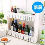 【ENNE】白色時尚經典多功能移動式縫隙收納櫃/二層式 F0140-S