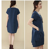 【Maya 名媛】 (中大碼) 薄棉麻大口背袋造型連衣裙 洋裝 連衣裙-藍色