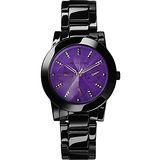 RELAX TIME 繽紛色彩日曆時尚白陶瓷腕錶-紫x黑 RT-52-8