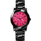 RELAX TIME 繽紛色彩日曆時尚白陶瓷腕錶-桃紅x黑 RT-52-7
