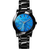 RELAX TIME 繽紛色彩日曆時尚白陶瓷腕錶-藍x黑 RT-52-9