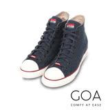 GOA 男款牛仔單寧高筒帆布鞋【含內增高鞋墊】-深藍色