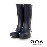 GOA 男款基本款亮面長筒雨靴-深藍色