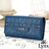 Lynx - 山貓都會風漾彩經典質感兩折式多收納長夾-英倫藍