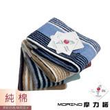 【MORINO摩力諾】彩條緹花方巾